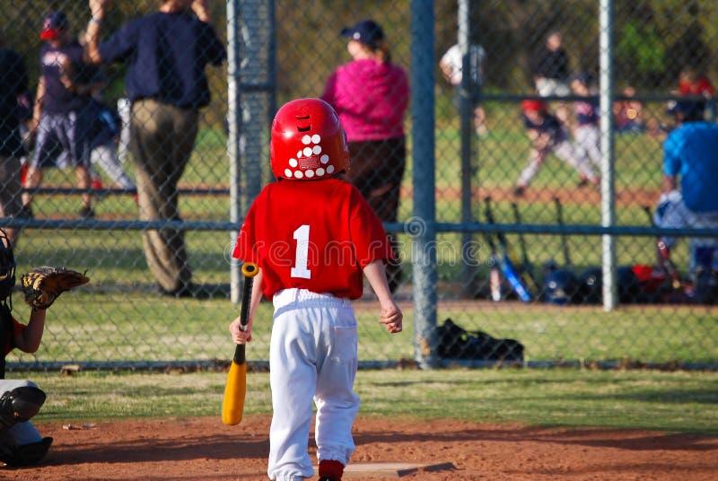 小职业棒球联盟面团从后面 免版税库存照片