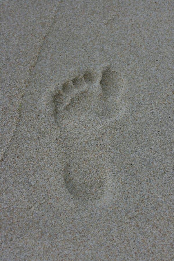 小脚印的沙子 免版税库存照片