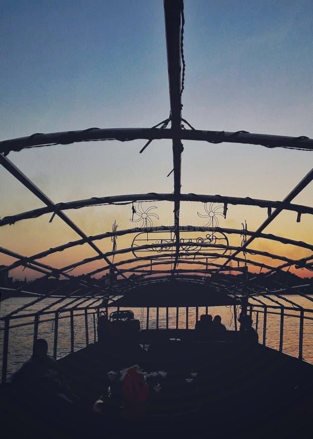 小船乘驾在Assiut的尼罗 免版税库存照片