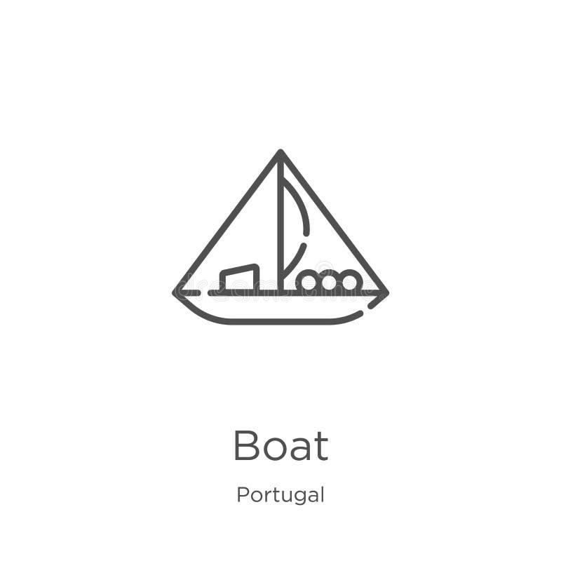 小船从葡萄牙汇集的象传染媒介 稀薄的线小船概述象传染媒介例证 r 皇族释放例证