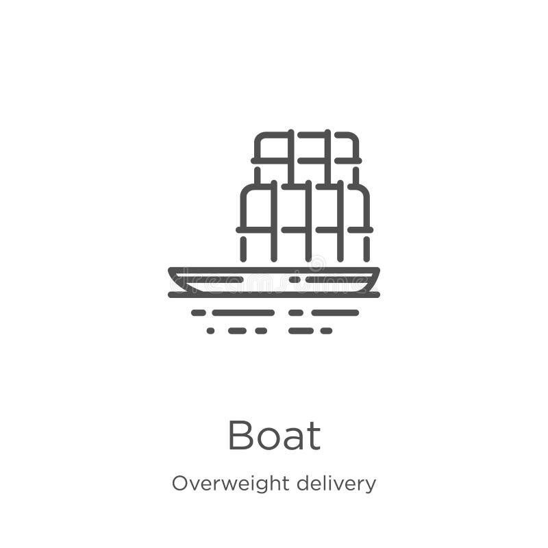 小船从超重交付收藏的象传染媒介 稀薄的线小船概述象传染媒介例证 概述,稀薄的线小船 向量例证