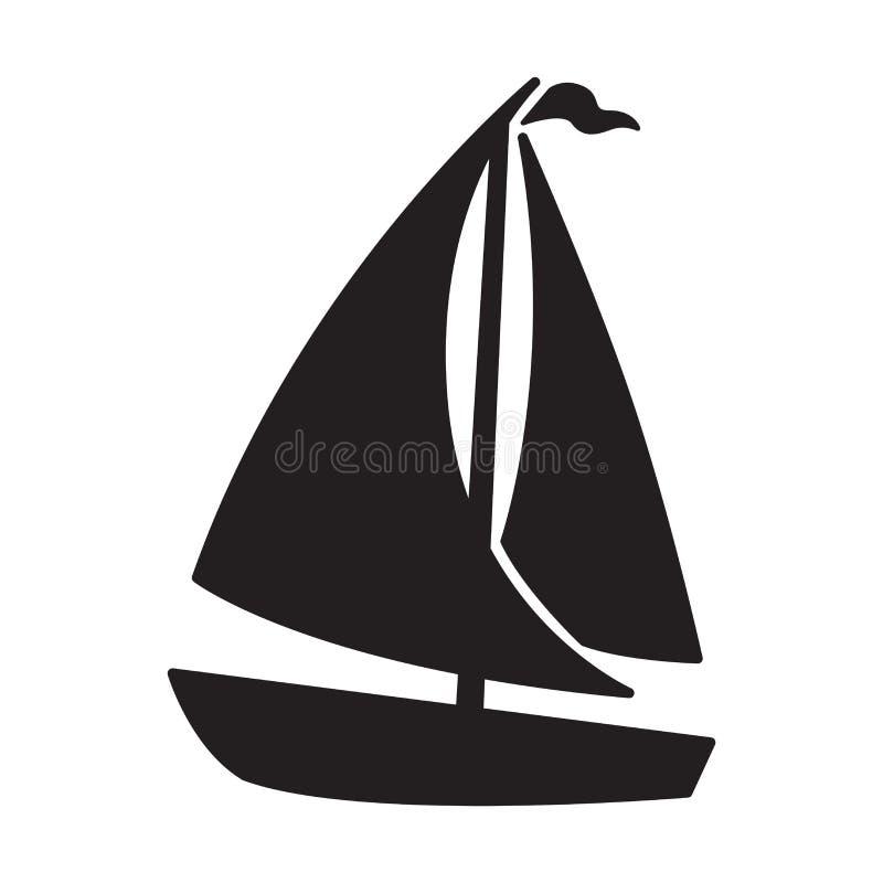 小船传染媒介商标象风帆风船游艇船船锚舵海船舶例证 向量例证