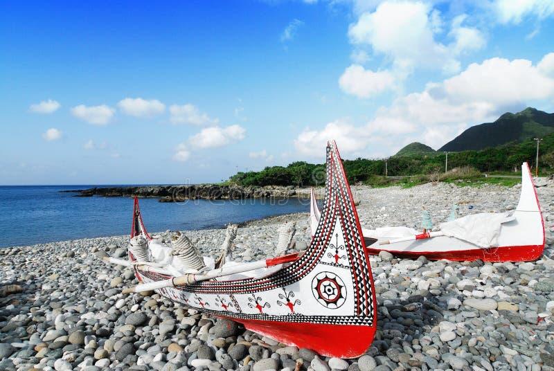 小船传统海岛的lanyu 免版税库存图片