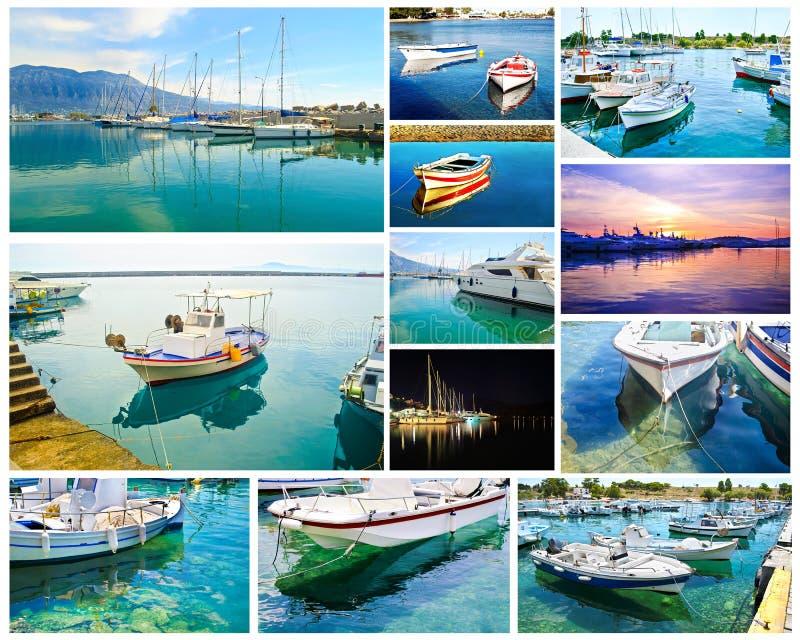 小船反射拼贴画-希腊夏天照片 库存照片