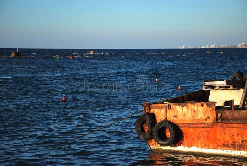 小船和地中海 库存图片