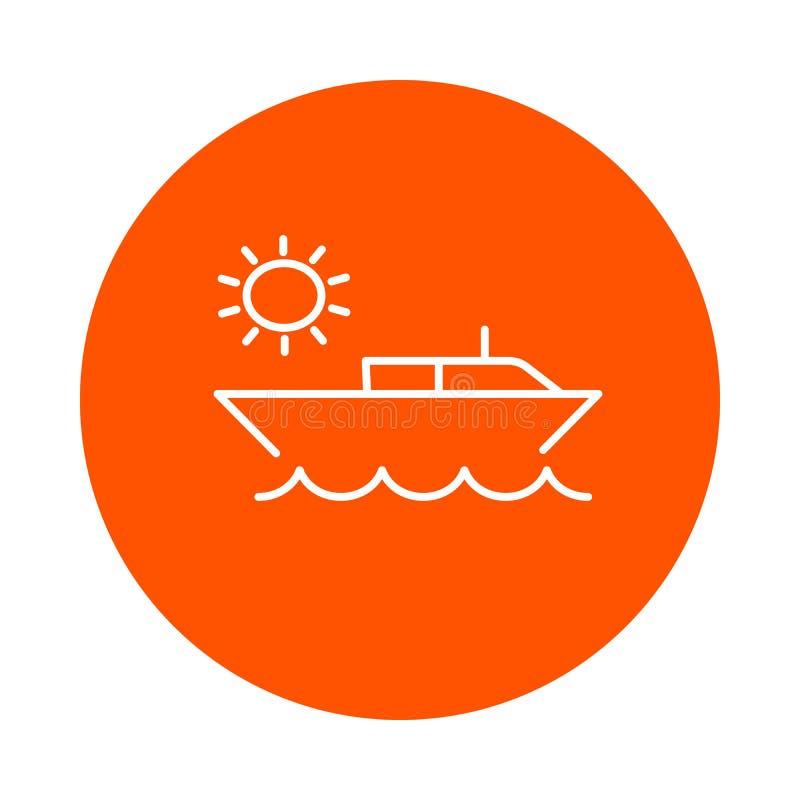 小船和海,圆的单色线性象 皇族释放例证