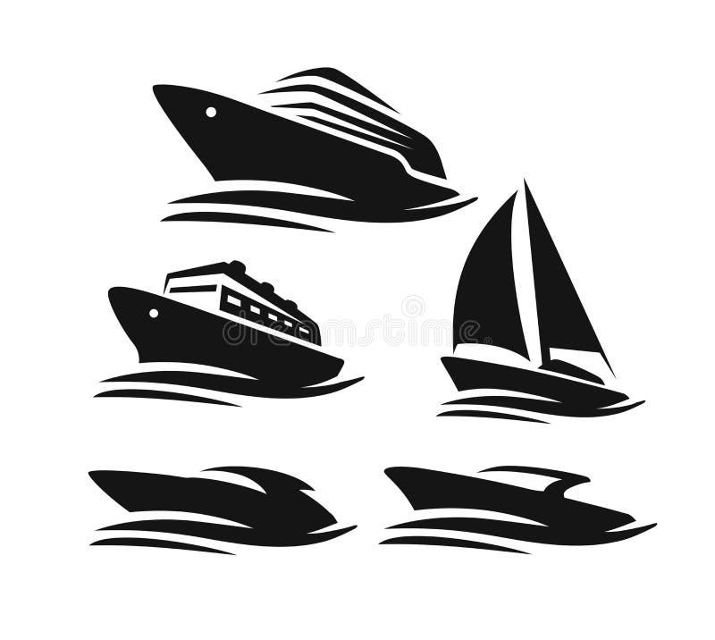 小船和船 向量例证