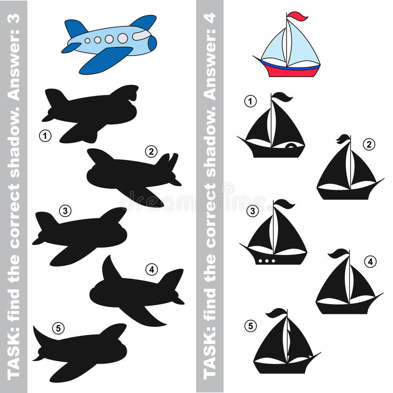 小船和飞机 发现真实的正确阴影 皇族释放例证