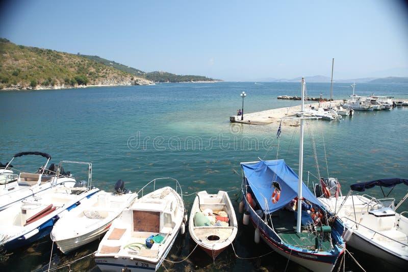 小船在一点港口,希腊Kerkira海岛 图库摄影