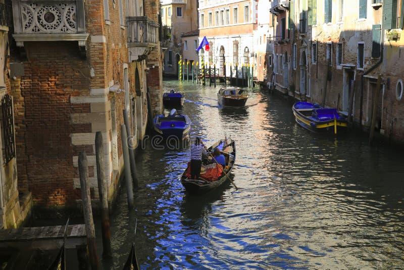 小船在威尼斯,意大利 库存照片