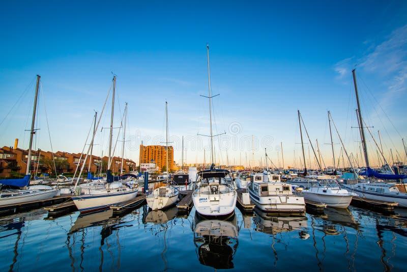 小船在小行政区的小游艇船坞,巴尔的摩,马里兰靠了码头 免版税图库摄影