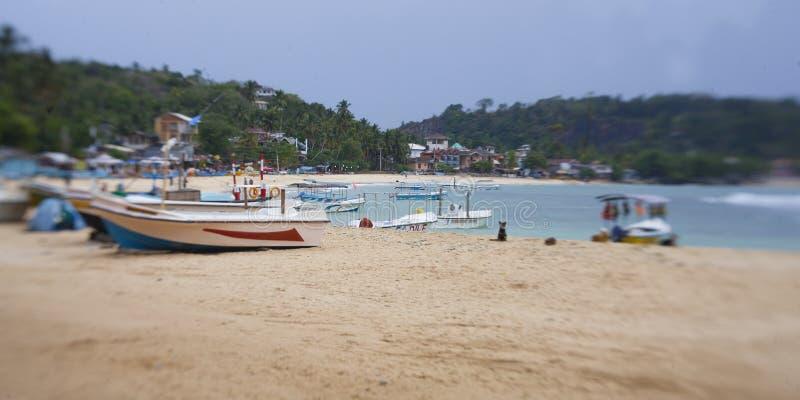 小船在斯里兰卡的海岸线的附近美丽的海洋, 免版税库存图片