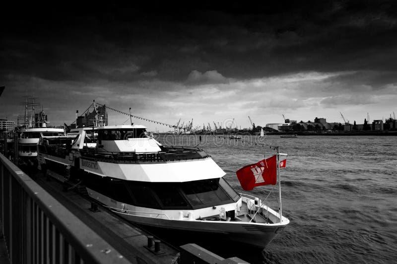 小船在汉堡 库存照片