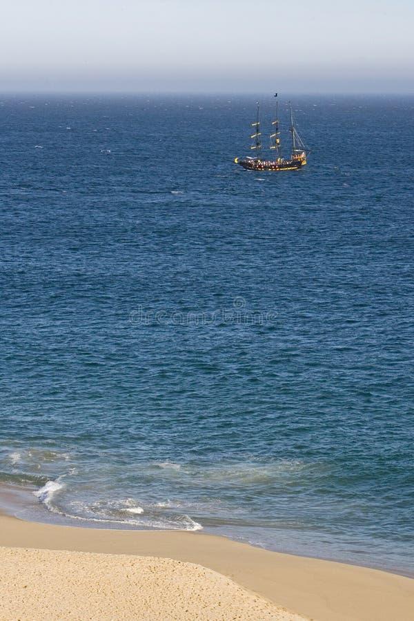 小船在离墨西哥的海岸的附近 库存图片