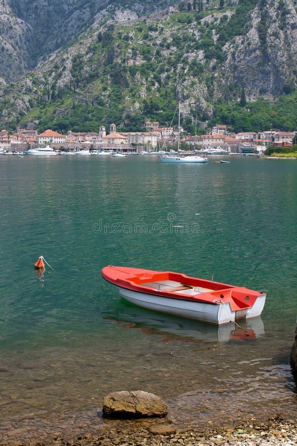 小船地中海montenegro 免版税库存照片