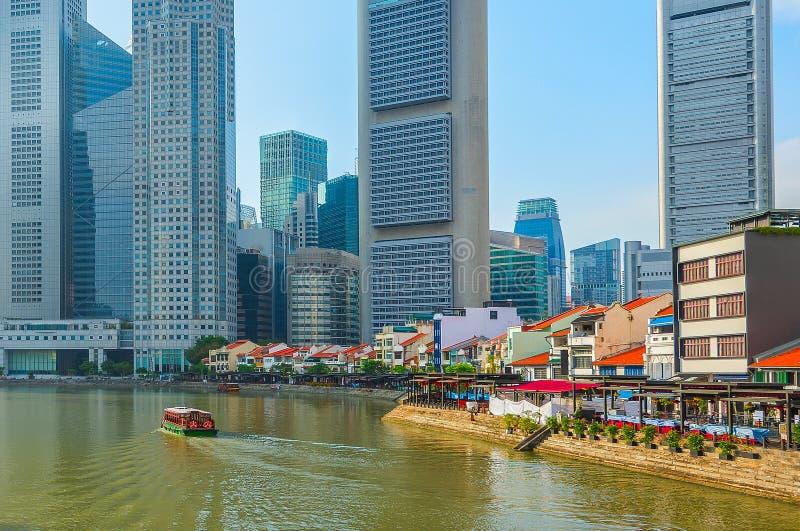 小船奎伊新加坡地平线河 图库摄影