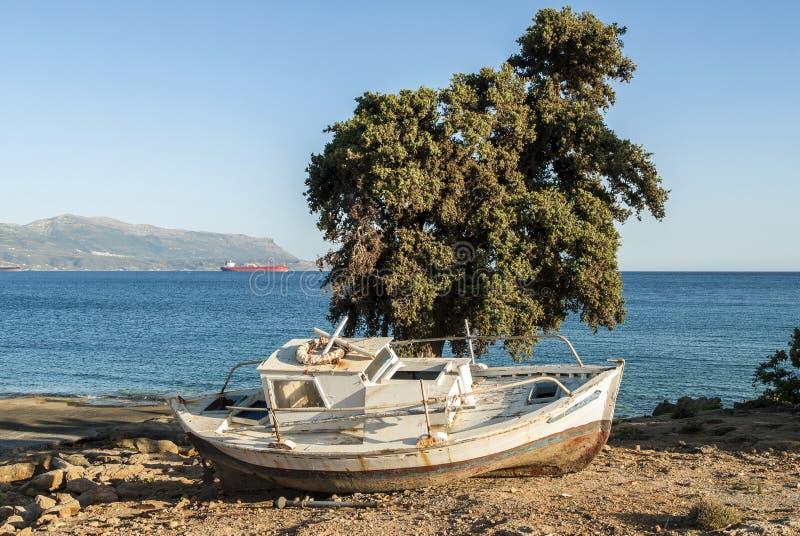 小船希腊 库存照片