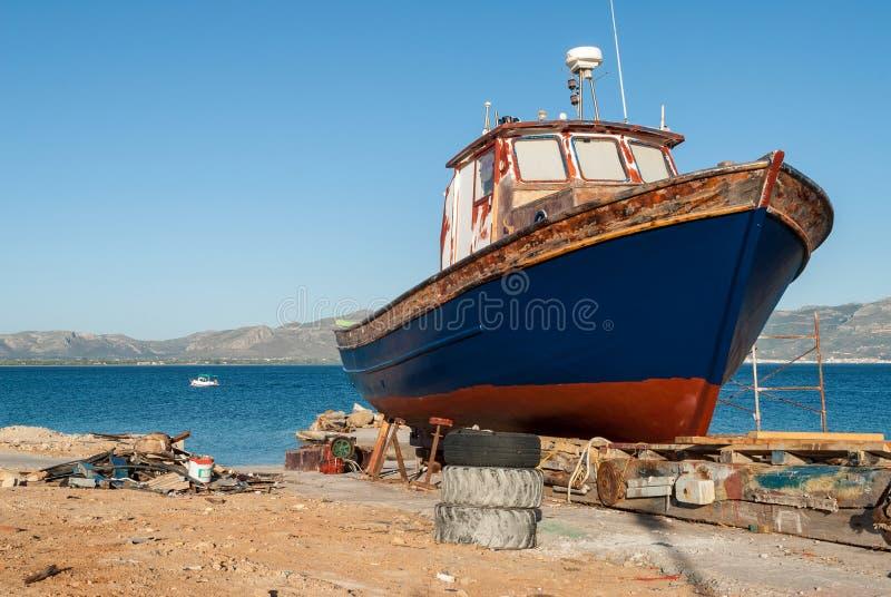 小船希腊 免版税库存照片