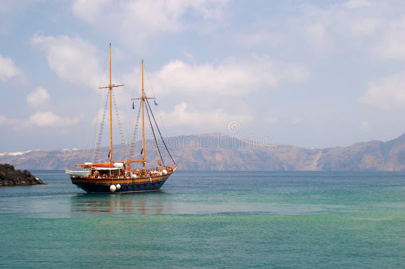小船希腊santorini 库存图片