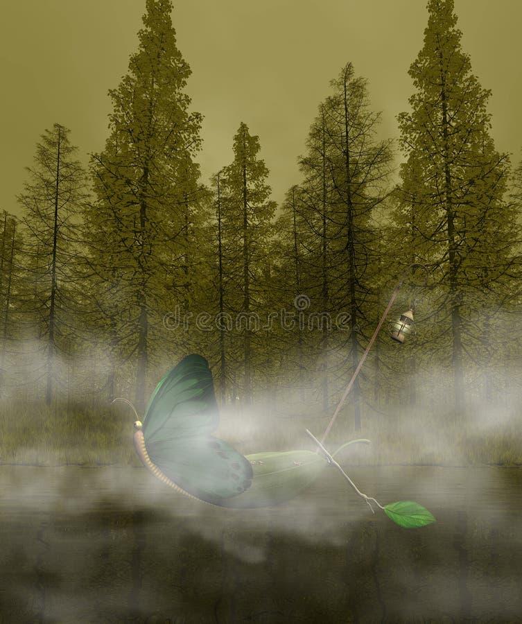小船幻想湖神秘主义者 库存例证