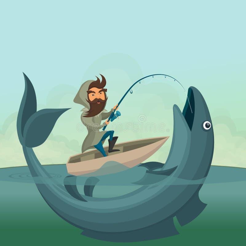 小船抓住巨人鱼的渔夫 皇族释放例证