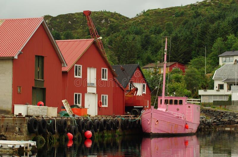 小船捕鱼粉红色 库存照片