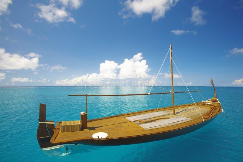 小船捕鱼马尔代夫 库存照片