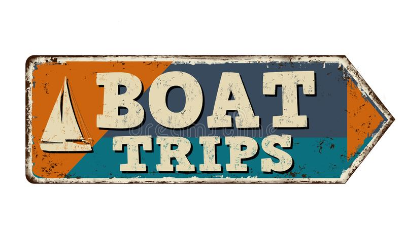 小船旅行葡萄酒生锈的金属标志 库存例证