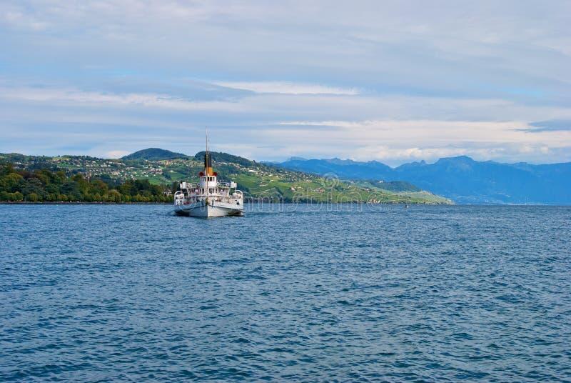 小船日内瓦湖 库存照片