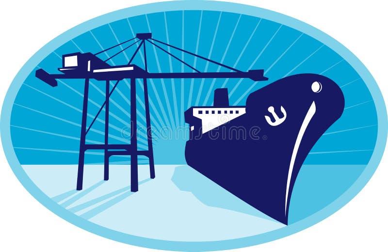 小船景气容器起重机装载船 库存例证