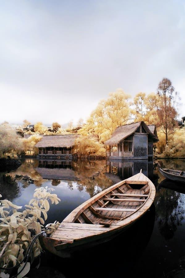 小船梦想湖 库存照片
