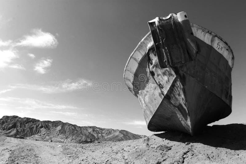 小船沙漠 免版税库存图片