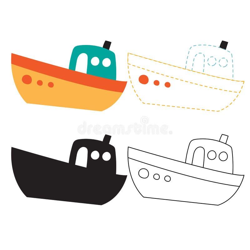 小船活页练习题传染媒介设计 库存例证