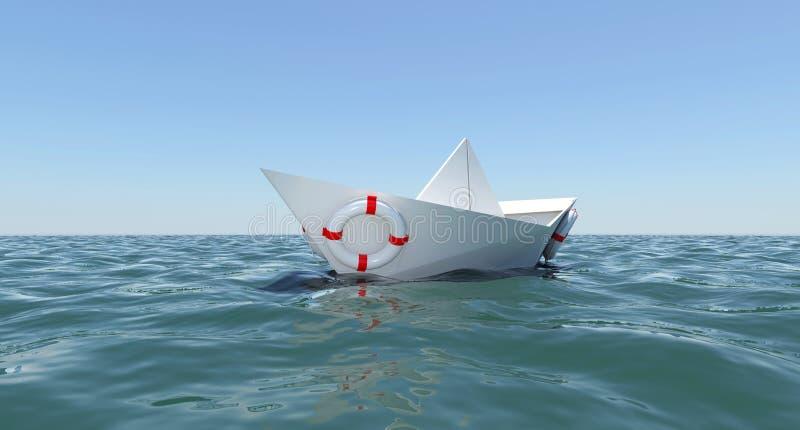 小船浮动的纸海水白色 向量例证