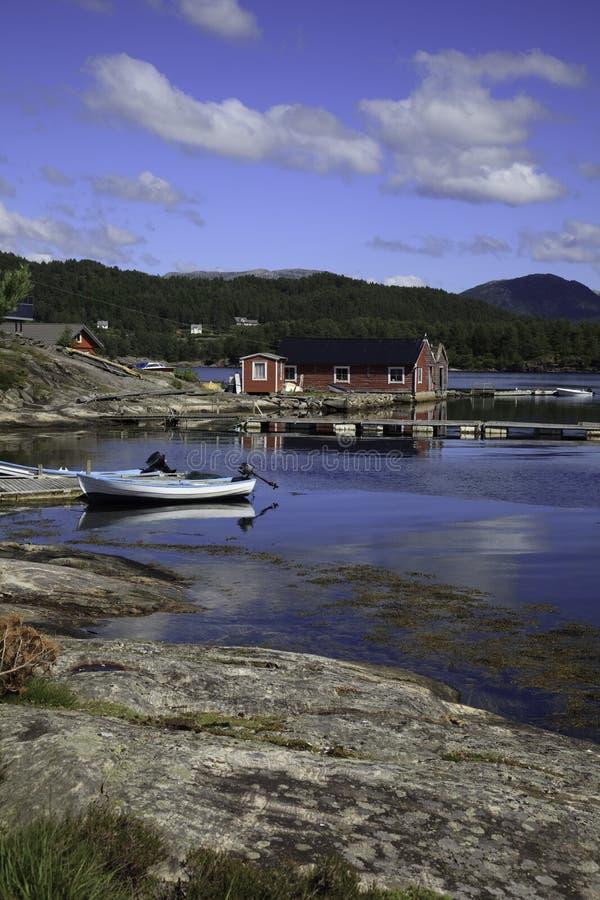 小船港口挪威 库存照片