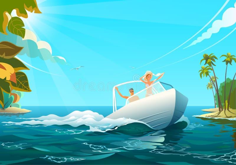 小船的人们在海洋,人的传染媒介乘坐小船的例证和妇女在岸在海洋在晴天 向量例证