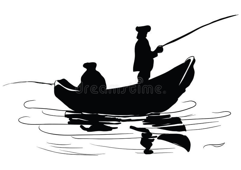 小船的渔夫 向量例证