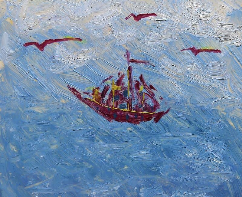 小船的艺术绘画 皇族释放例证
