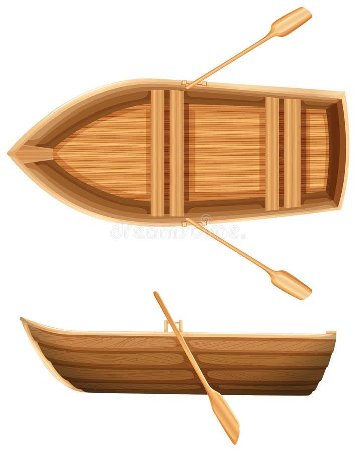 小船的顶面和侧视图 库存例证
