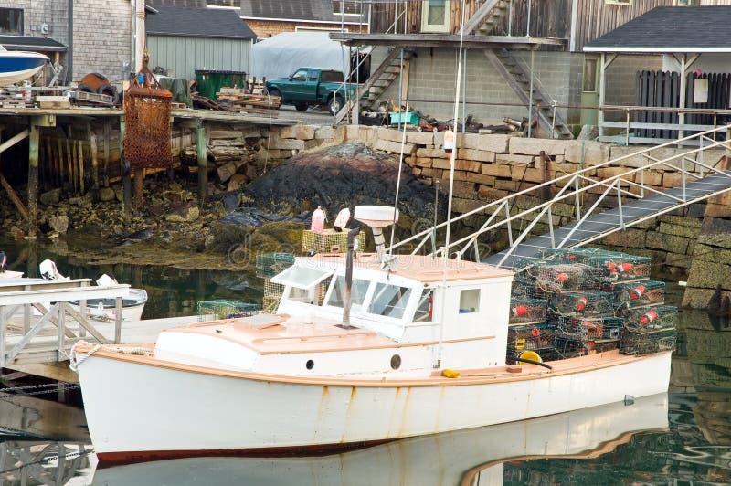 小船码头龙虾 免版税库存照片