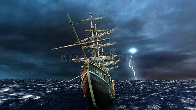 小船航行 向量例证