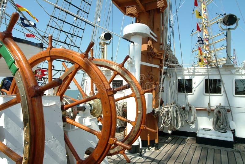 小船舵风帆轮子 库存图片