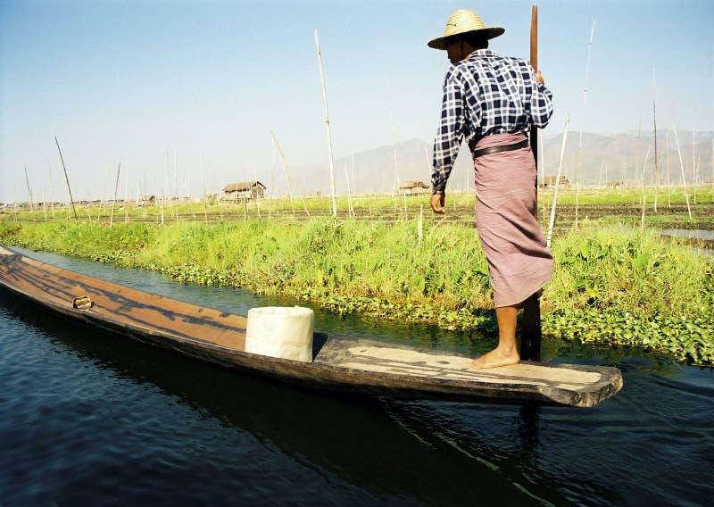 小船谷物可视行程一的划船者 免版税图库摄影
