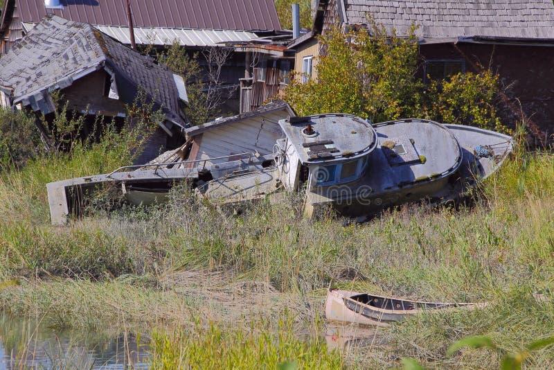 小船遗弃捕鱼 库存图片