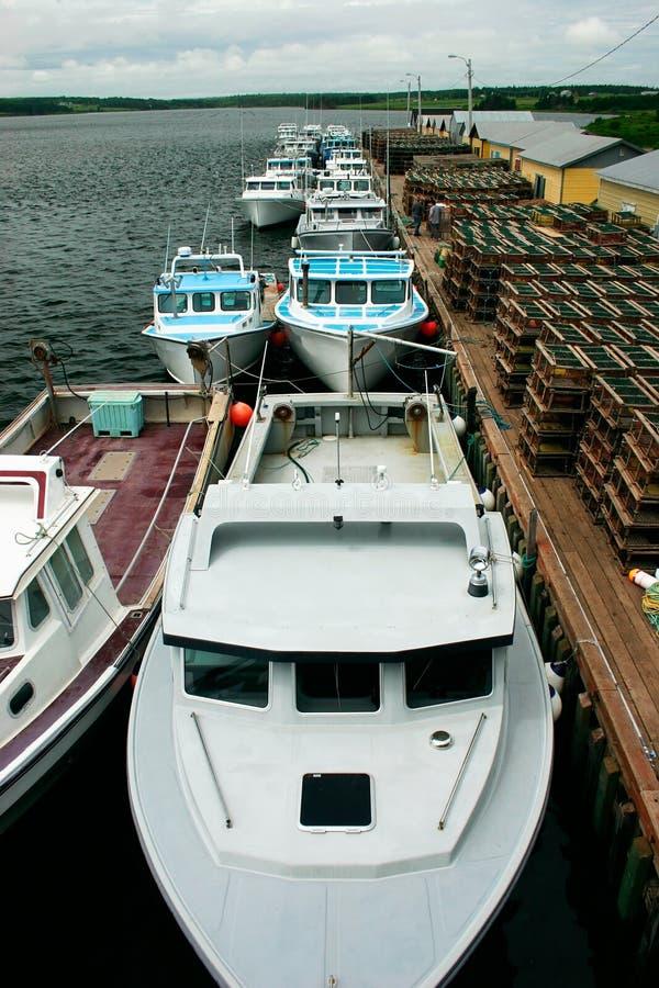 小船钓鱼排队了 免版税库存图片