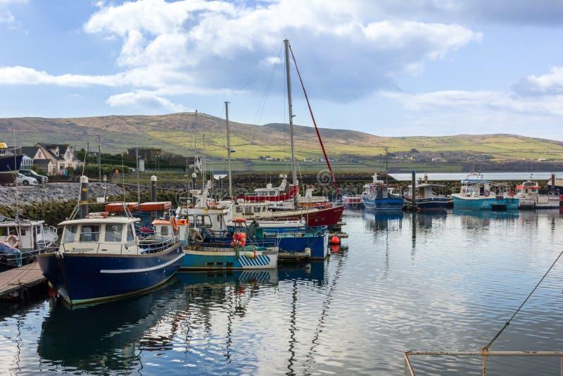小船钓鱼海港 幽谷 爱尔兰 免版税库存图片