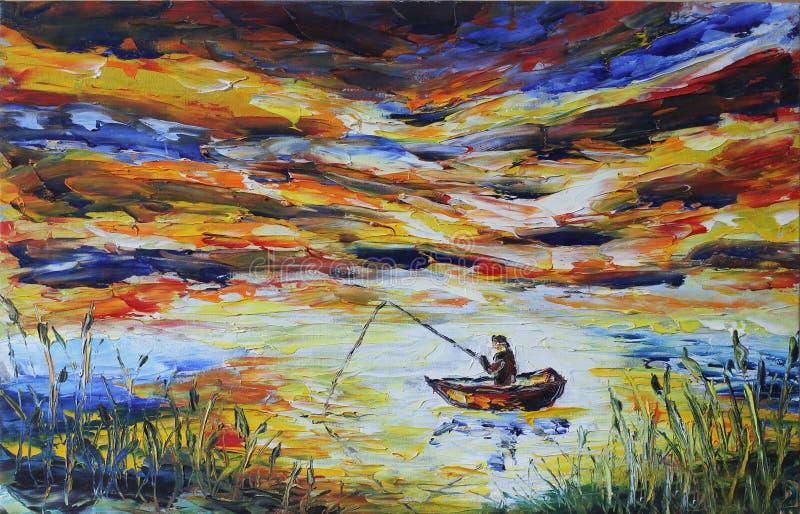 小船钓鱼竿的渔夫,湖,芦苇,平衡 皇族释放例证