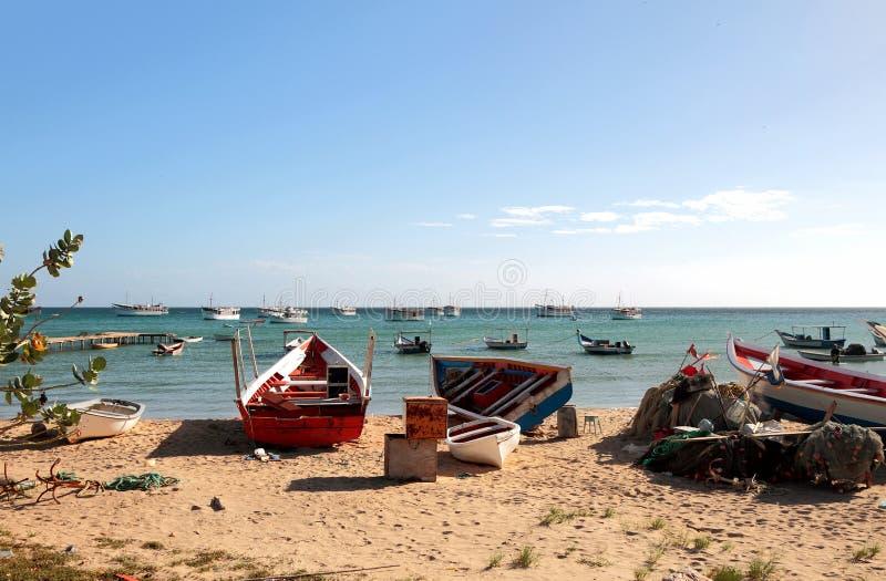 小船钓鱼 Macanao,海岛玛格丽塔,委内瑞拉 库存照片