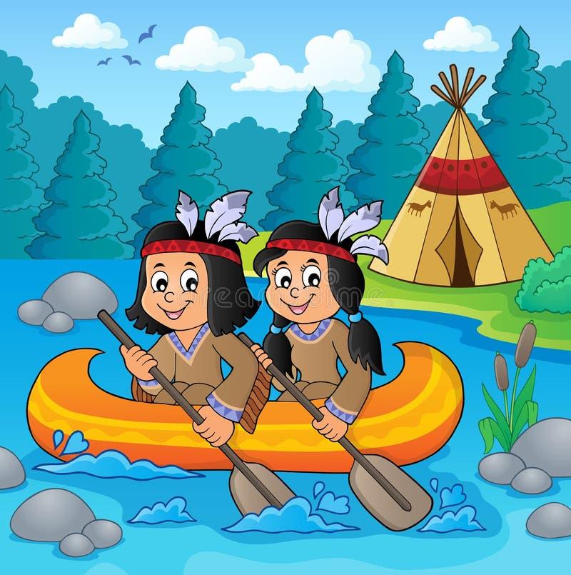 小船题材的2美国本地人孩子 向量例证