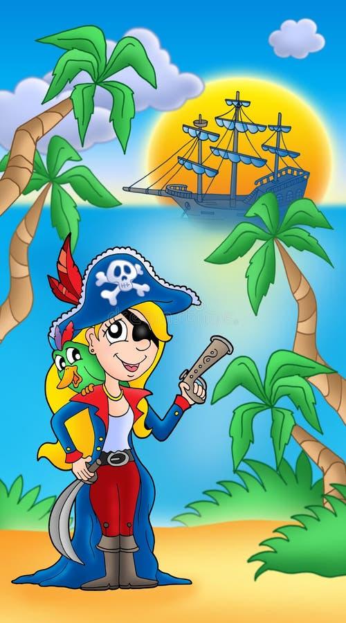 小船鹦鹉海盗妇女 向量例证
